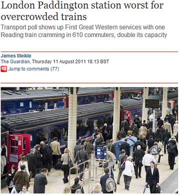 """Transport poll shows up First Great Western services with one Reading train cramming in 610 commuters, double its capacity"" / The Guardian"